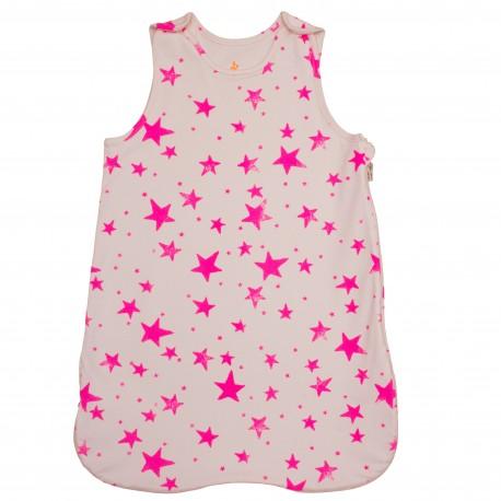 Sleeping bag Neon pink stars