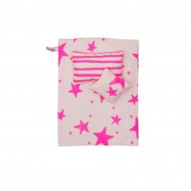 Kids bedding neon pink stars & stripes