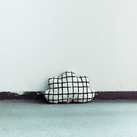 Cloud pillow small black grid
