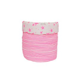 Storage basket M neon pink stars and stripes