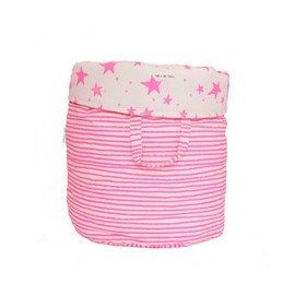 Storage basket L neon pink stars and stripes