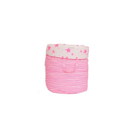 Storage basket L neon pink stars and stripes