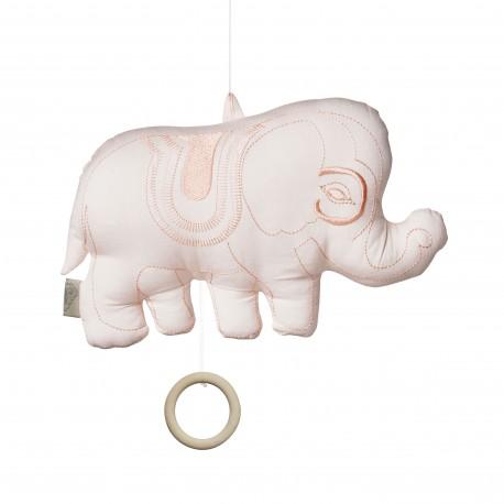 Elephant music mobile - blush