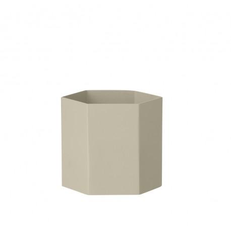 Hexagon pot light grey - large