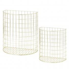 Set of 2 half round wire baskets - gold
