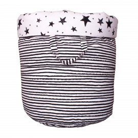 Storage basket L black stars and stripes