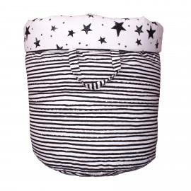 Storage basket L black stars and stripes