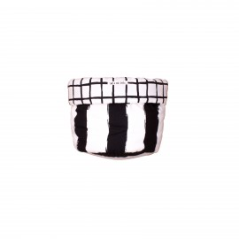 Storage basket S black grid and stripes