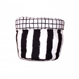 Storage basket M black grid and stripes
