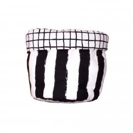 Storage basket M black grid and stripes