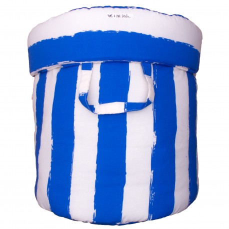 Storage basket L blue stripes