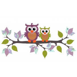 Owl with Branch, purple/green retro