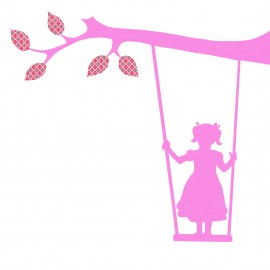 Girl with Swing, pink, looking to the right