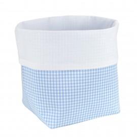 Fabric Basket Check Light Blue