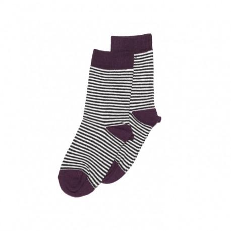 Socks- Striped/eggplant