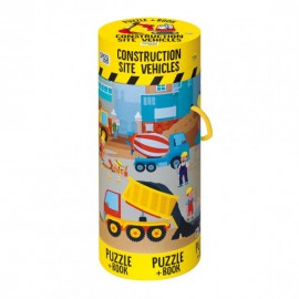 Construction Site Vehicles Book+Giant Puzzle