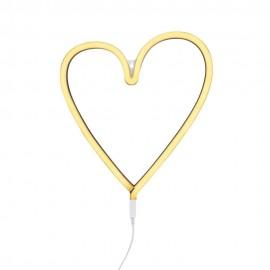 Neon style light heart yellow