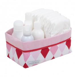 Baby storage basket, large - lozenge pink & red