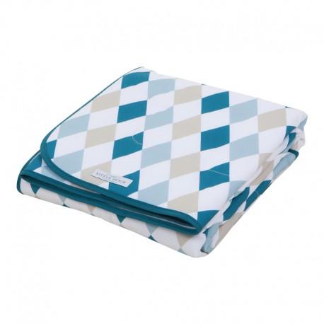 Cradle blanket pure & soft - lozenge mint & beige