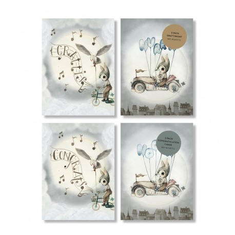 Mrs. Mighetto Greeting cards 2 pack - flying car