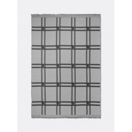 Checked Wool Blend Blanket - Grey